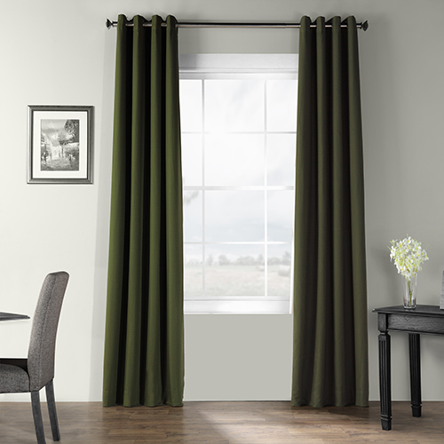 Bark Weave Grommet Green 50 x 120-Inch Curtain Single Panel
