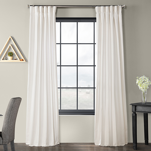Solid Country Cotton Rod Pocket White 50 x 120-Inch Curtain Single Panel