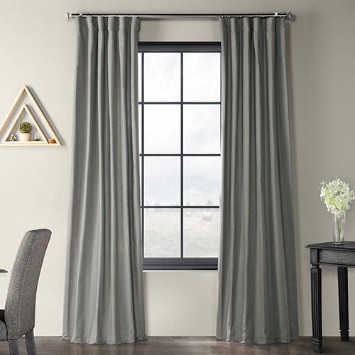 Solid Country Cotton Rod Pocket Shadow Gray 50 x 108-Inch Curtain Single Panel