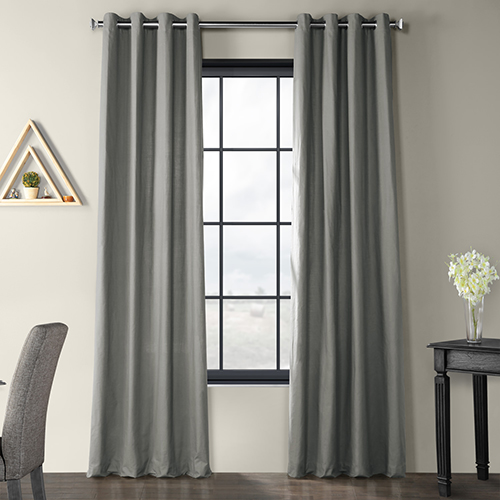 Solid Country Cotton Grommet Shadow Gray 50 x 96-Inch Curtain Single Panel