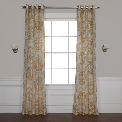 Damacus Tan 120 x 50 In. Grommet Printed Sheer Curtain Single Panel