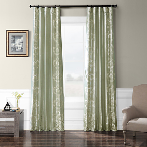 Embroidered Faux Silk Rod Pocket Gray 50 x 84-Inch Curtain Single Panel