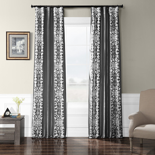 Embroidered Faux Silk Rod Pocket Renaissance Curtain Single Panel