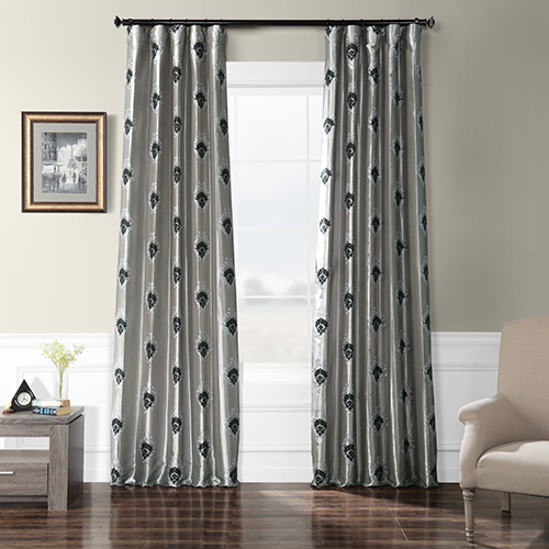 Embroidered Faux Silk Rod Pocket Silver 50 x 120-Inch Curtain Single Panel