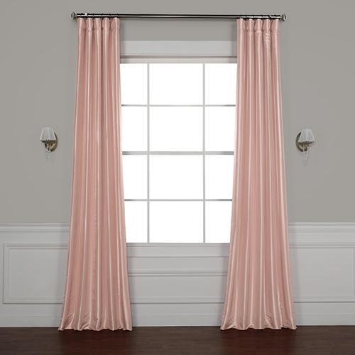 Salmon Rose 84 x 50-Inch Faux Silk Taffeta Curtain Single Panel