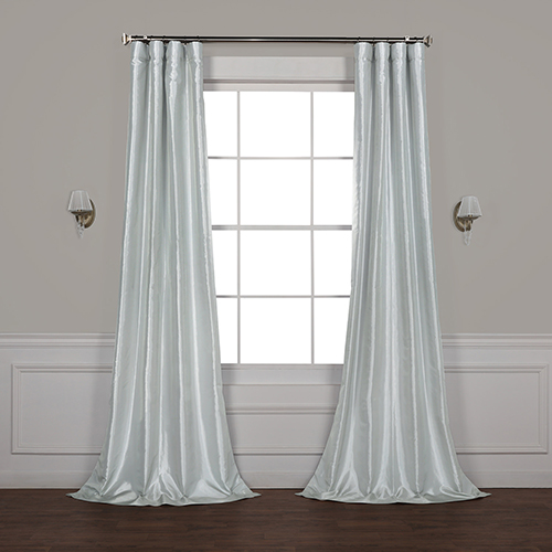 Feather Grey 120 x 50-Inch Blackout Faux Silk Taffeta Curtain Single Panel