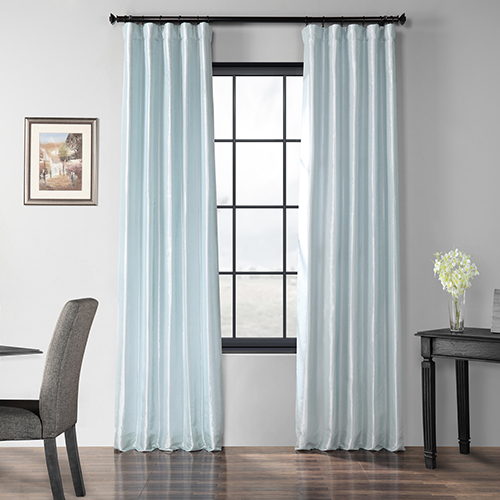 Blackout Faux Silk Taffeta Rod Pocket Blue 50 x 120-Inch Curtain Single Panel