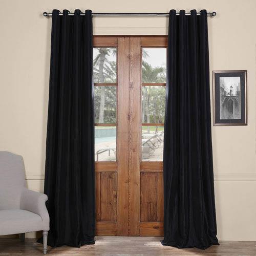 Black Grommet Blackout 120 x 50 In. Faux Silk Taffeta Curtain
