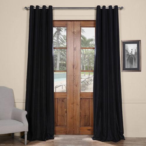 Black Grommet Blackout 96 x 50 In. Faux Silk Taffeta Curtain