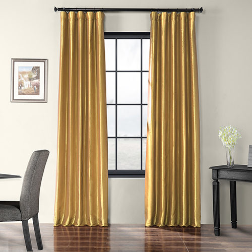 Faux Silk Taffeta Rod Pocket Curtain Single Panel