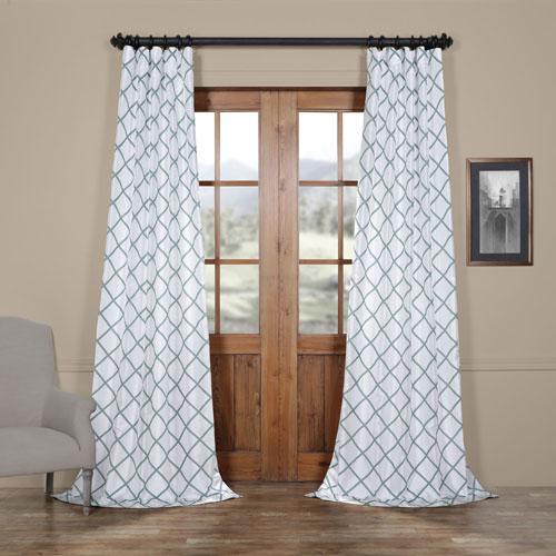 Diamond Jade 108 x 50 In. Flocked Faux Silk Curtain Single Panel