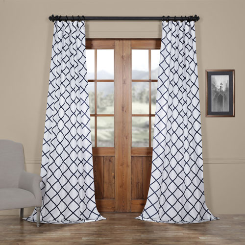 Diamond Onyx 108 x 50 In. Flocked Faux Silk Curtain Single Panel