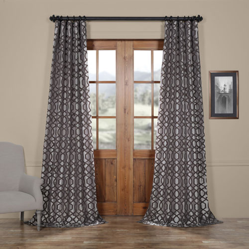 Rose Street Busy Trellis Silver and Pewter 108 x 50 In. Flocked Faux Silk Curtain Single Panel