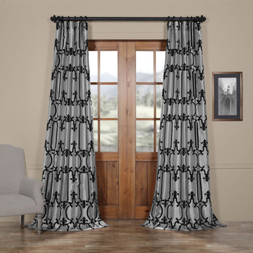 Royal Gate Silver and Black 108 x 50 In. Flocked Faux Silk Curtain Single Panel