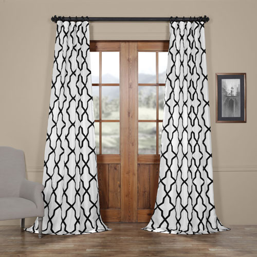 Ridged Diamond White and Black 108 x 50 In. Flocked Faux Silk Curtain Single Panel