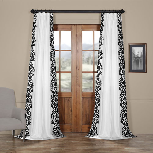 Royal White and Black 108 x 50 In. Flocked Faux Silk Curtain Single Panel