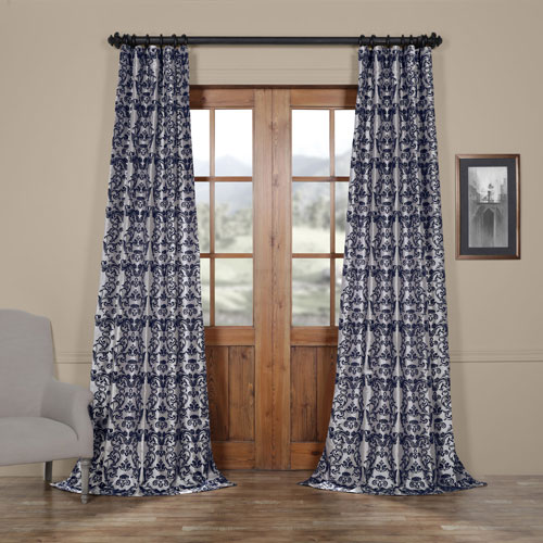 Damask Silver and Blue 84 x 50 In. Flocked Faux Silk Curtain Single Panel
