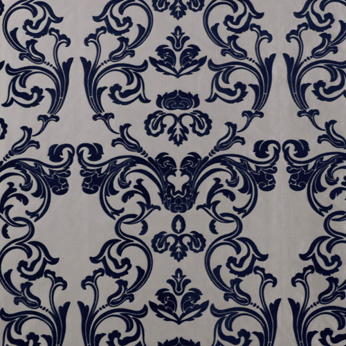 Rose Street Damask Silver and Blue Faux Silk - SAMPLE SWATCH ONLY
