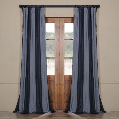 Rose Street Blue Faux Silk 96 x 50 In. Stripe Curtain Single Panel