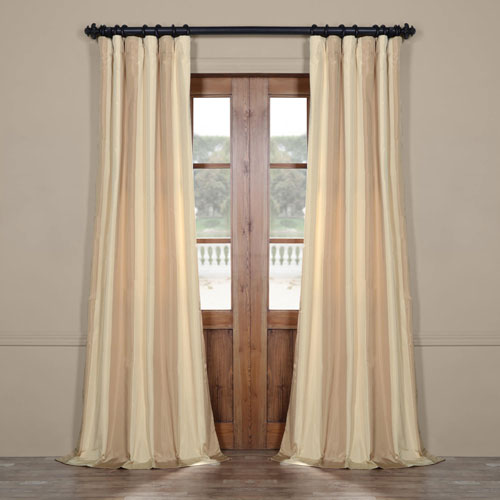 Rose Street Ivory and Cream 108 x 50 In. Faux Silk Stripe Curtain Single Panel