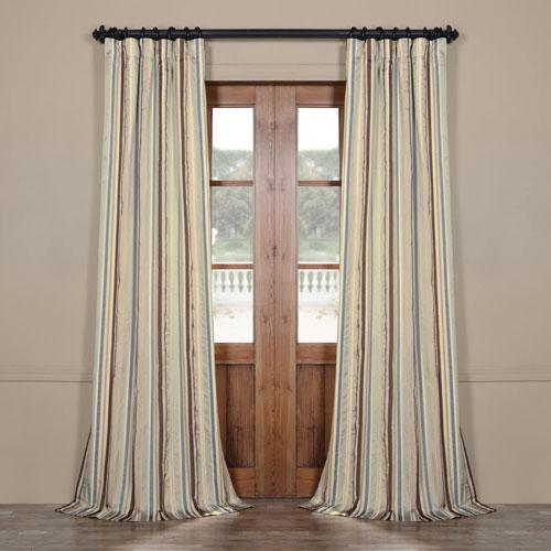 Blue Multicolor 84 x 50 In. Luxury Faux Silk Stripe Curtain Single Panel