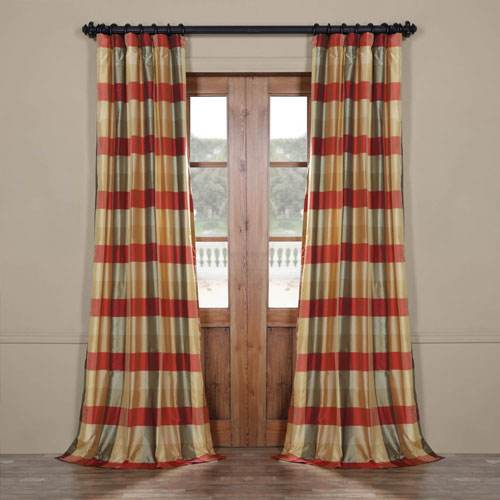 Rose Street Red and Multicolor 108 x 50 In. Luxury Faux Silk Stripe Curtain Single Panel