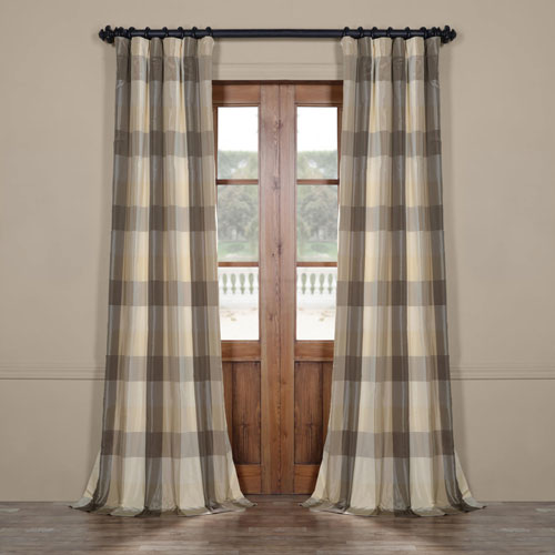 Grey Check 96 x 50 In. Faux Silk Plaid Curtain Single Panel