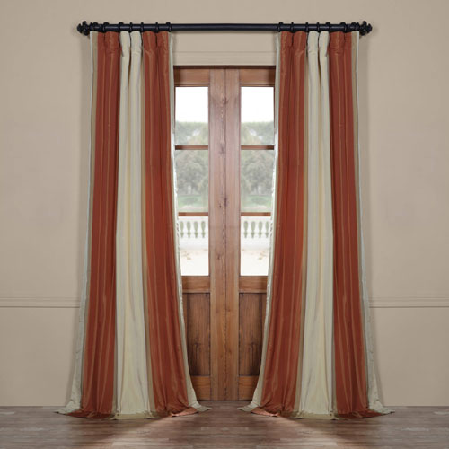 Rose Street Rust 96 x 50 In. Luxury Faux Silk Stripe Curtain Single Panel