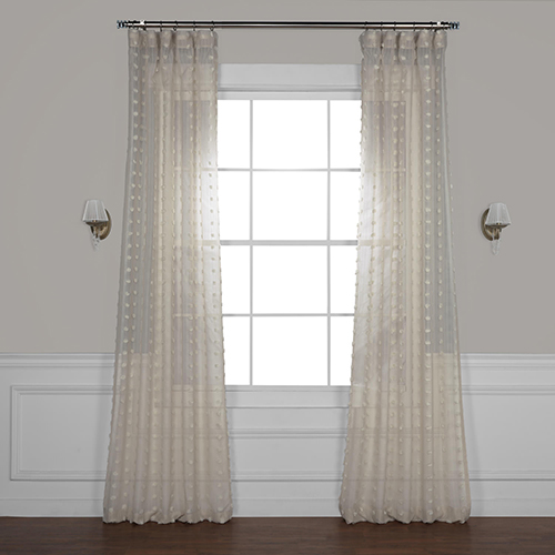 Strasbourg Dot Beige 84 x 50 In. Patterned Linen Sheer Curtain Single Panel