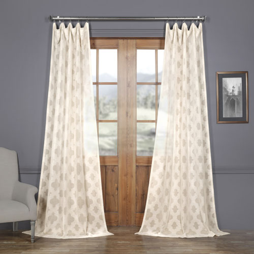 Ivory Tile Patterned Faux Linen Sheer 96 x 50 In. Curtain Single Panel
