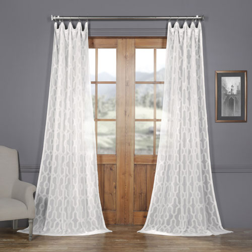 Rose Street Geo White Patterned Faux Linen Sheer 108 x 50 In. Curtain Single Panel