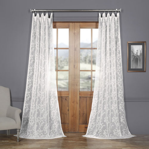 White Scroll Patterned Faux Linen Sheer 96 x 50 In. Curtain Single Panel