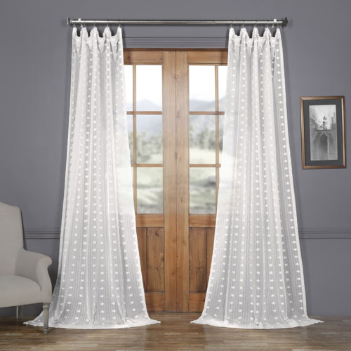 Rose Street White Dot Patterned Faux Linen Sheer 108 x 50 In. Curtain Single Panel