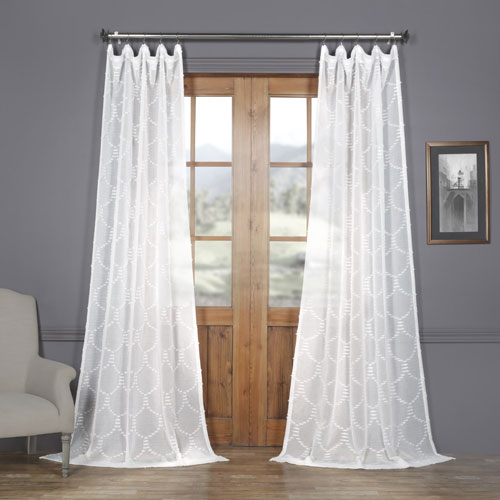 White Shell Patterned Faux Linen Sheer 84 x 50 In. Curtain Single Panel