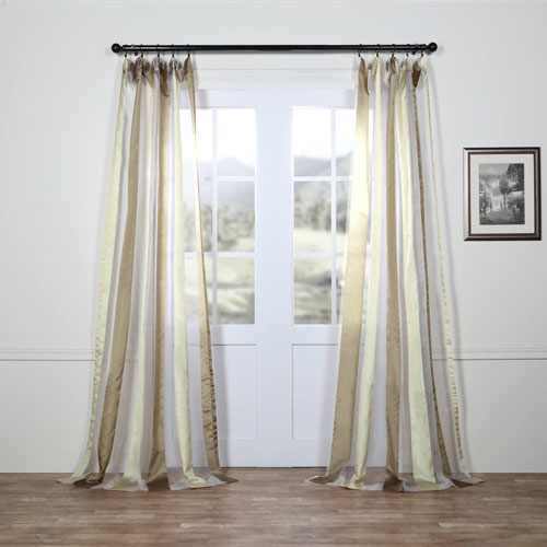Rose Street Burnished Gold Vertical Stripe Sheer 96 x 50 In. Curtain Single Panel