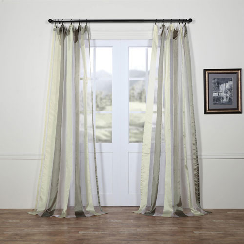 Rose Street Laquered Silver and White Vertical Stripe Sheer 96 x 50 In. Curtain Single Panel