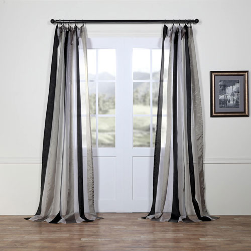 Rose Street Polished Silver and Black Vertical Stripe Sheer 96 x 50 In. Curtain Single Panel