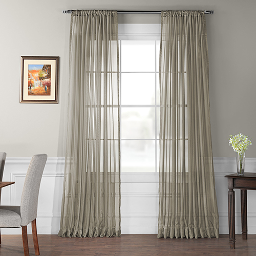 Rose Street Solid Voile Poly Sheer Curtain Panel Pair