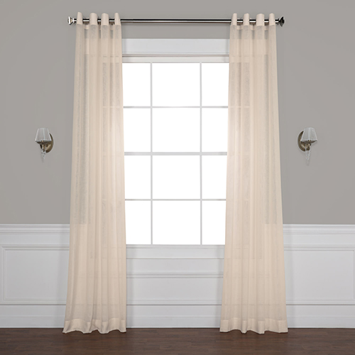 Cotton Seed 108 x 50-Inch Grommet Solid Faux Linen Sheer Curtain Single Panel
