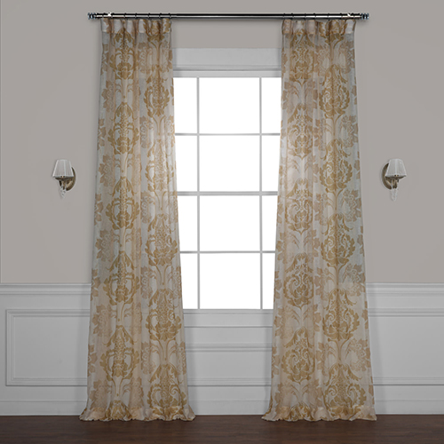 Damacus Tan 120 x 50 In. Printed Sheer Curtain Single Panel