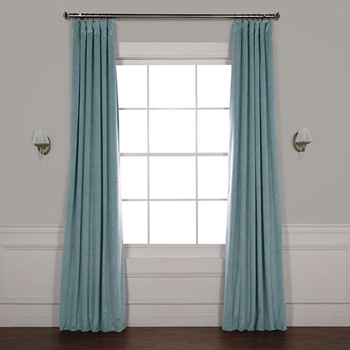 Skylark Blue 120 x 50-Inch Signature Blackout Velvet Curtain Single Panel