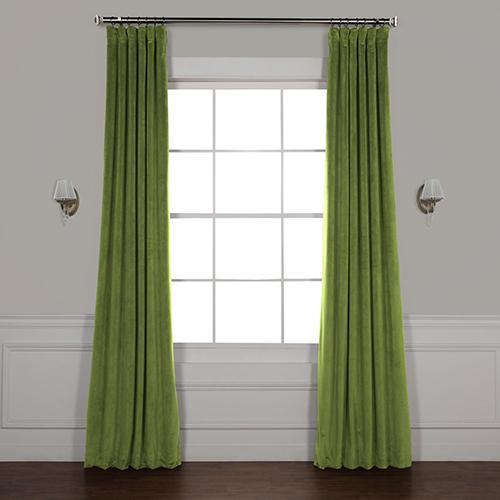 Basque Green 96 x 50-Inch Signature Blackout Velvet Curtain Single Panel