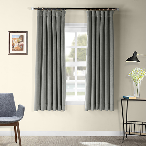 Silver Grey 63 x 50 In. Signature Blackout Velvet Curtain Single Panel