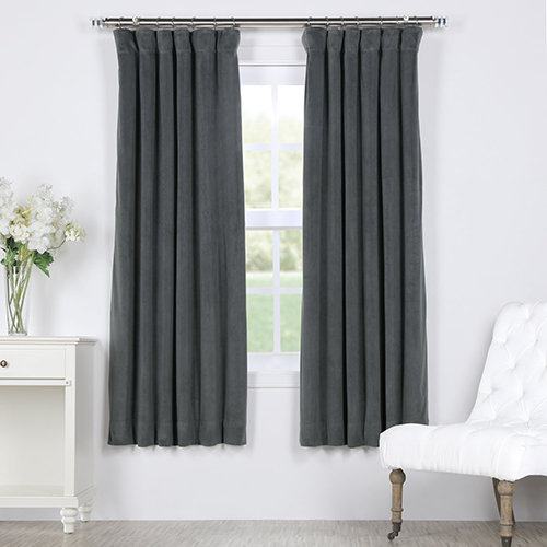 Natural Grey 63 x 50 In. Signature Blackout Velvet Curtain Single Panel