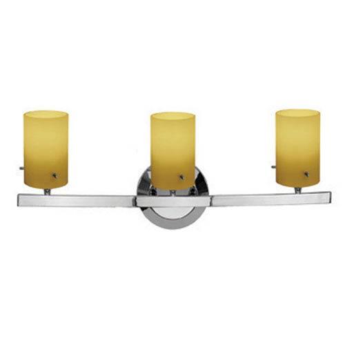 Access Lighting Sydney Chrome Three-Light Vanity with Amber Cylinder Glass