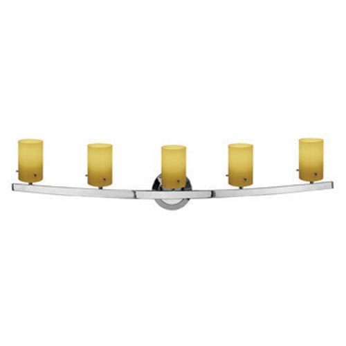 Access Lighting Sydney Chrome Five-Light Vanity with Amber Cylinder Glass