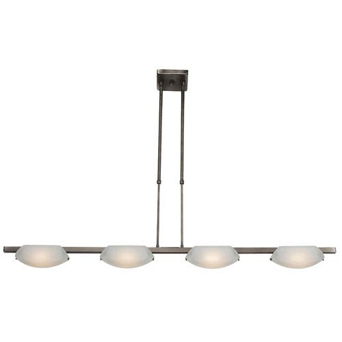 Access Lighting Nido Matte Chrome Four-Light Bar Pendant with Frosted Glass