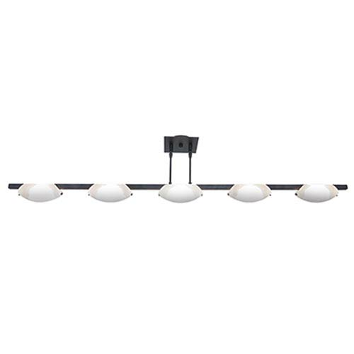 Nido Oil Rubbed Bronze Five-Light Bar Pendant with Frosted Glass