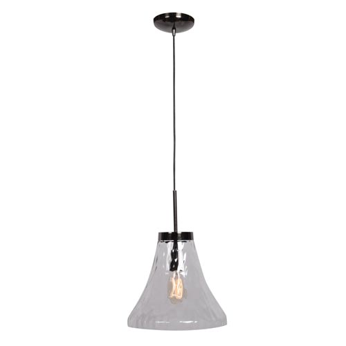 Simplicite Black Chrome 12-Inch One-Light Bell Pendant with Clear Glass