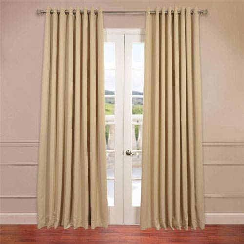 Half Price Drapes Beige 96 x 100-Inch Double Wide Grommet Blackout Curtain Single Panel